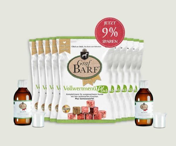 Das Graf Barf Vollwert-Plus-Paket Hähnchen - jetzt für Ihren Hund im Graf Barf Online-Shop bestellen!