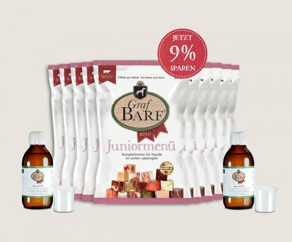 """Barf Juniormenüpaket Rind: Mit 10 Beuteln Rohfutterwürfel """"Juniormenü"""" und Barf-Öl"""